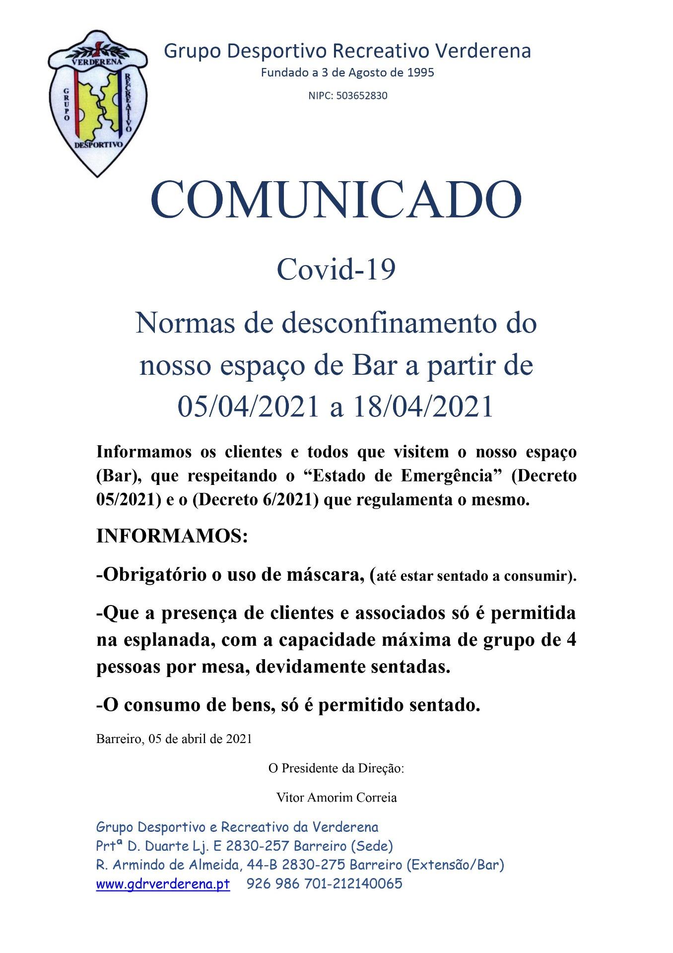 Normas de desconfinamento a 05-04-2021
