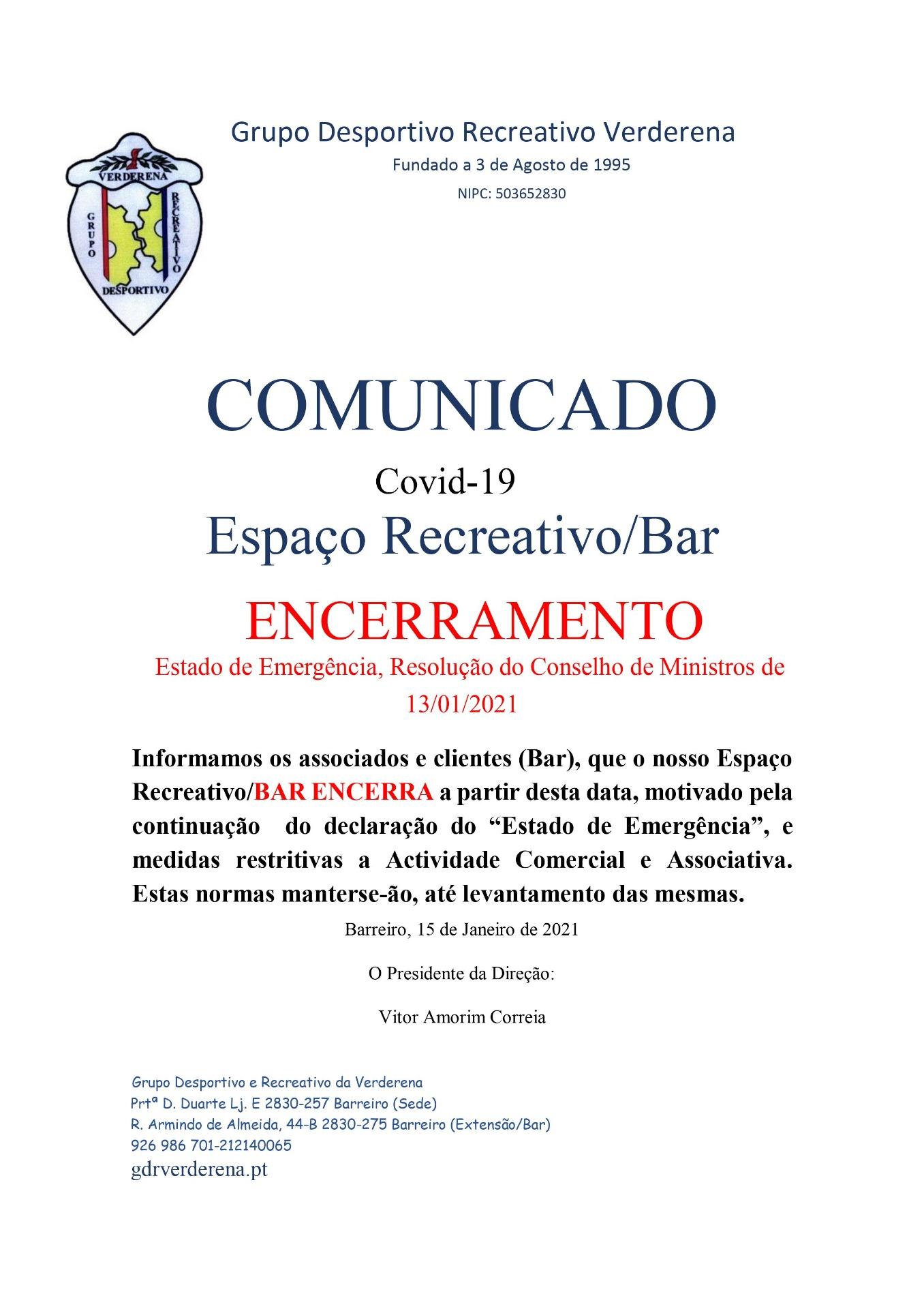 Encerramento Extensão Bar
